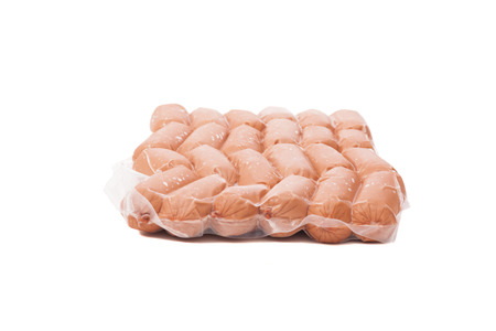 half stuff: Pack of sausages isolated on white