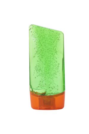 Botella de pl�stico con jab�n l�quido en un fondo blanco