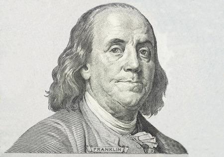 Close-up on Benjamin Franklin  版權商用圖片