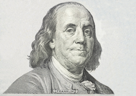 Primer plano sobre Benjamin Franklin Foto de archivo
