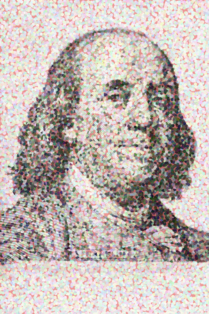 bringing home the bacon: Close-up on Benjamin Franklin  Stock Photo