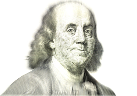 bacon portrait: Close-up on Benjamin Franklin  Stock Photo