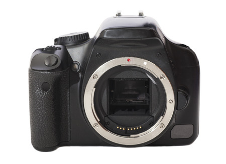 seeker: DSLR camera isolated on a white background