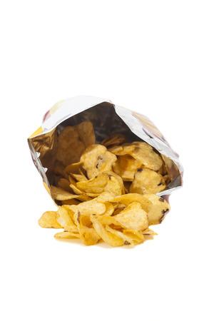 Heap ofDelicious potato chips on white background