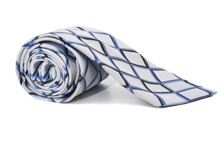 checkered necktie on a white background