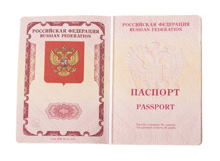 Opened foriegn Russian passport isolated on white