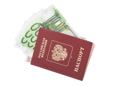 Russian foriegn passport and Euro money on white background  Stock Photo
