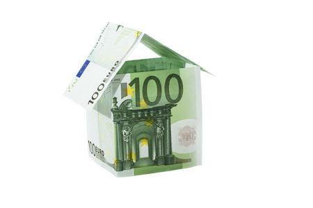 one hundred: House Of One Hundred Euro Bills Stock Photo