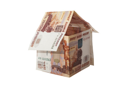 House of Russian 5000 rubles banknotes  Stock Photo