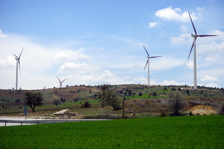 powerhouse: windmils on background blue sky and green grass