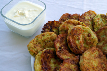 fritters: fritters of zucchini Stock Photo