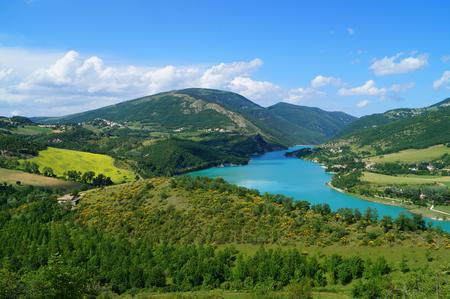 apennines: beautiful lake Fiastra, Italy Stock Photo