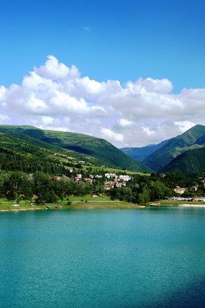 silent film: beautiful lake Fiastra; Italy