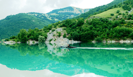silent film: beautiful lake Fiastra, Italy Stock Photo