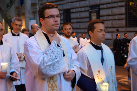 absolute: ROME, ITALY - JUN 4, 2015: During the celebration the Feast of Corpus Christi (Body of Christ) also known as Corpus Domini, is a Latin Rite celebrating belief in the body and blood of Jesus Christ. Editorial