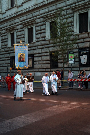 the believer: ROME, ITALY - JUN 4, 2015: During the celebration the Feast of Corpus Christi (Body of Christ) also known as Corpus Domini, is a Latin Rite celebrating belief in the body and blood of Jesus Christ. Editorial