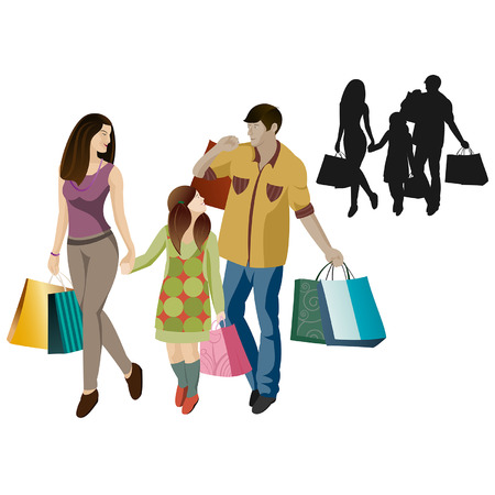 shopping family: Family shopping in vector cartoon  isolated