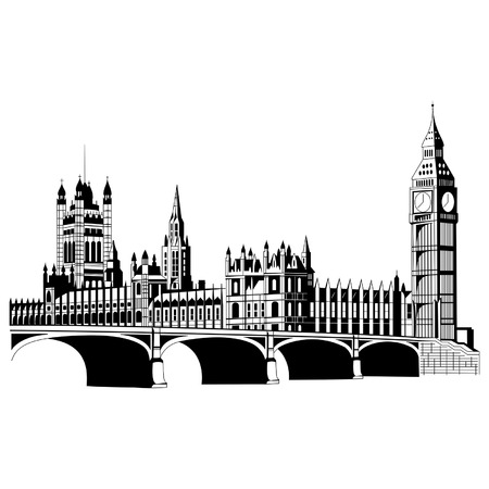 westminster abbey: Contour London city in  vector Illustration