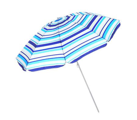 Open blue striped beach umbrella isolated on white