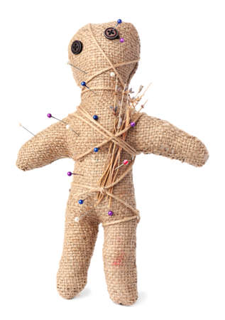 Voodoo doll with pins and dried flowers isolated on white Standard-Bild