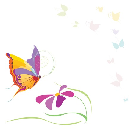 butterfly garden: butterflies and flower Illustration