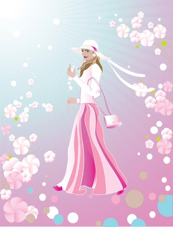 flowerses: beautiful girl by springtime