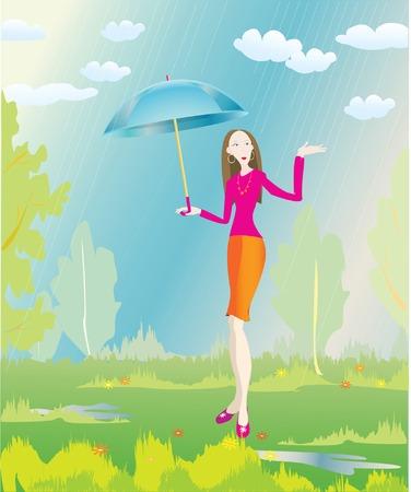 flowerses: stylish girl and summer rain