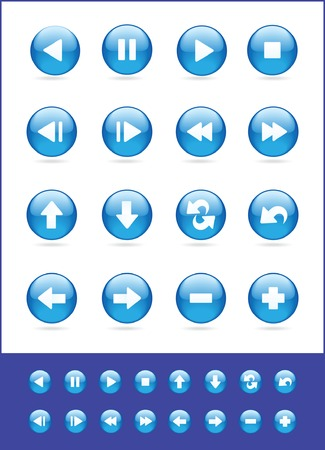 set of blue vector icons for audio and video Stock Vector - 4620782