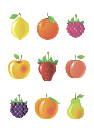Set vector bright fruit and berries Stock Vector - 4642909