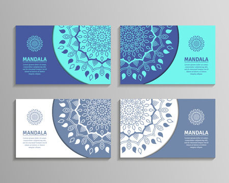 oriental vector: Ornamental template for business card, flyer or banner with round mandala. Vector ornamental mandala. Stylish geometric pattern in oriental style. Arabic, indian, pakistan, asian motif.
