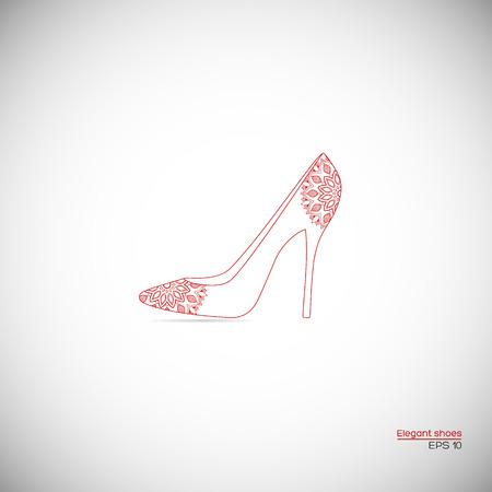 high heel shoe: Elegant female high heel shoe with mandala ornament in red color.
