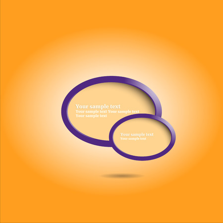 elipse: Violeta banners de diseño elipse con el fondo de color naranja para la presentación, ilustración vectorial