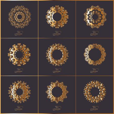 circle flower: Set of ornamental cards with gold flower oriental mandala on dark background. Ethnic vintage pattern. Indian, asian, arabic, islamic, ottoman motif. Vector illustration.
