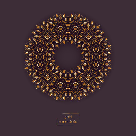vinous: Ornamental card with gold flower oriental mandala on vinous color background. Ethnic vintage pattern. Indian, asian, arabic, islamic, ottoman motif. Vector illustration. Illustration