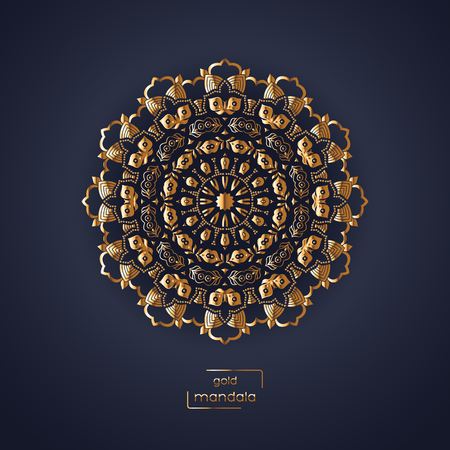 blue circle: Ornamental gold flower oriental mandala on dark blue color background. Ethnic vintage pattern. Indian, asian, arabic, islamic, ottoman motif. Vector illustration.