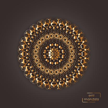dark brown: Ornamental gold flower oriental mandala on brown color background. Ethnic vintage pattern. Indian, asian, arabic, islamic, ottoman motif. Vector illustration. Illustration
