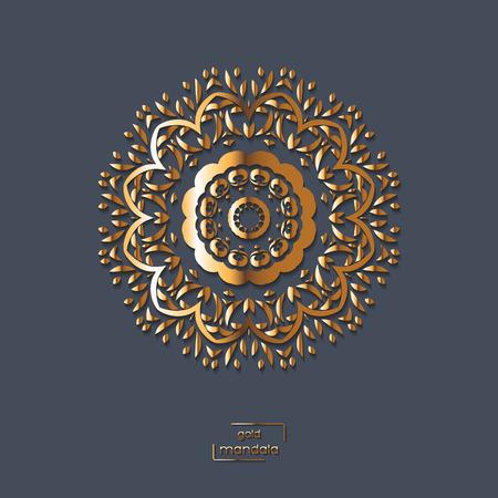 gold floral: Ornamental gold flower oriental mandala on blue color background. Ethnic vintage pattern. Indian, asian, arabic, islamic, ottoman motif. Vector illustration.