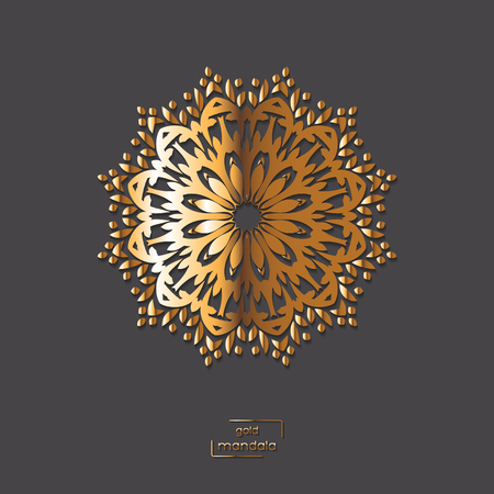 arabic gold: Ornamental gold flower oriental mandala on grey color background. Ethnic vintage pattern. Indian, asian, arabic, islamic, ottoman motif. Vector illustration.