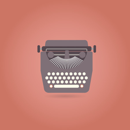 typewriting machine: Retro style typewriter flat icon. Vector illustration.