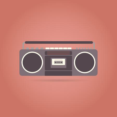 electronic 80s: Tape recorder flat icon. Retro design. Vintage. Vector illustration.