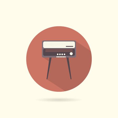 radiogram: Radiogram round flat icon. Retro style. Vector illustration.