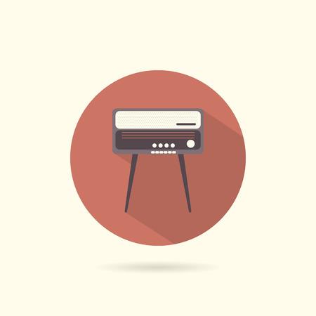 radiogram: Radiogram round flat icon. Retro style. Vector illustration.