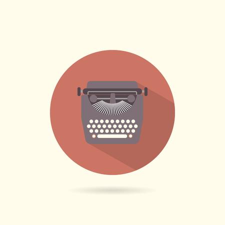 type writer: Typewriter flat round icon. Retro style. Vector illustration.