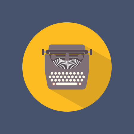 type writer: Typewriter round flat icon on dark background. Retro style. Vector illustration.