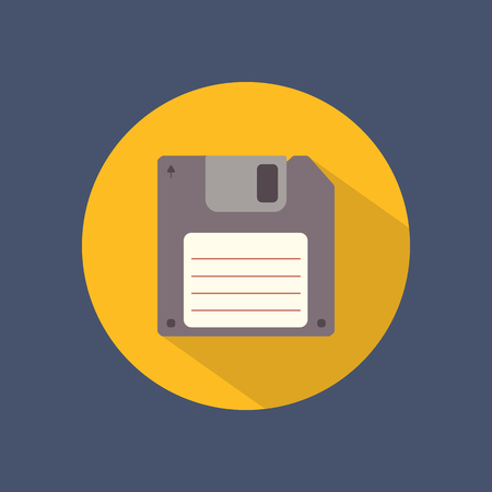 old pc: Floppy disk flat round icon on dark background. Retro style. Vector illustration. Illustration