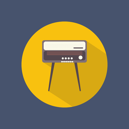 radiogram: Radiogram round flat icon on dark background. Retro style. Vector illustration.