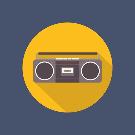 tape recorder: Tape recorder flat icon on dark background. Retro design. Vintage. Vector illustration. Illustration