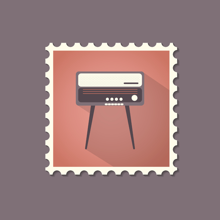 radiogram: Retro style radiogram flat stamp with shadow. Vector illustration. Illustration