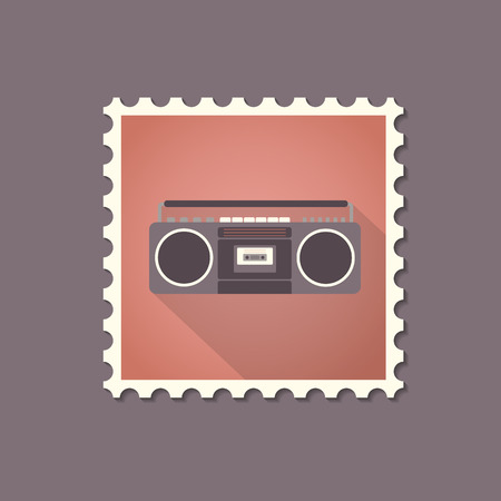 recorder: Retro style tape recorder flat stamp with shadow. Vector illustration. Illustration
