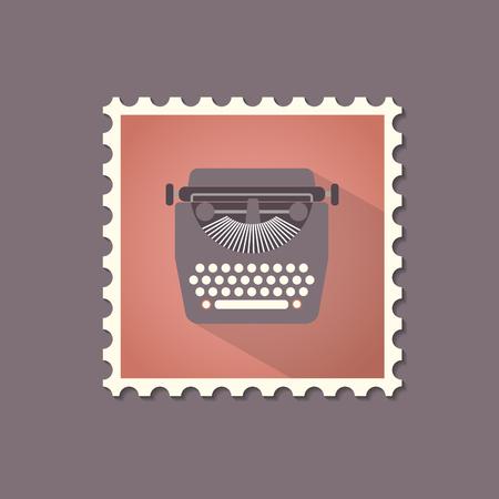 type writer: Retro style typewriter flat stamp with shadow. Vector illustration. Illustration